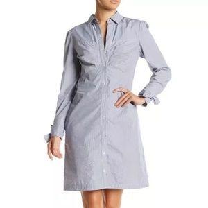 ECI White Blue Navy Bow Cuff Shirt Dress Sz 6
